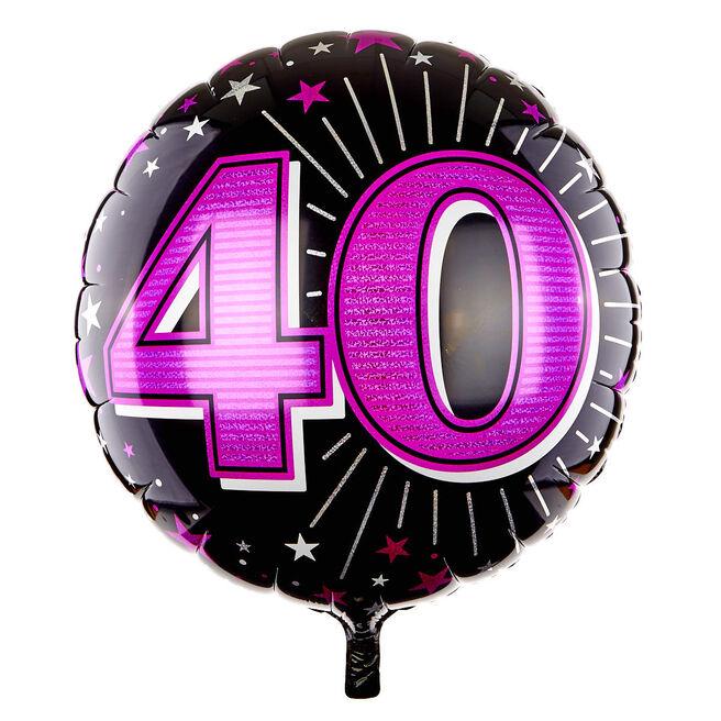 31 Inch 40th Birthday Helium Balloon - Pink