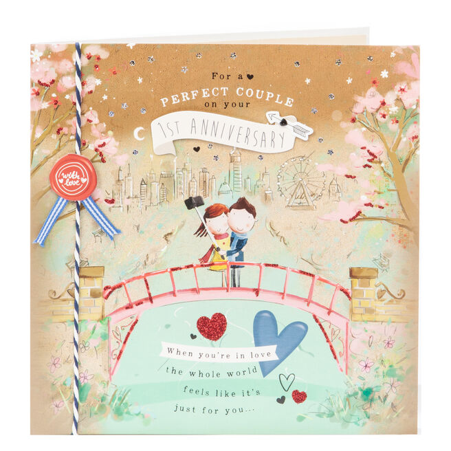 Exquisite Collection 1st Anniversary Card - Perfect Couple
