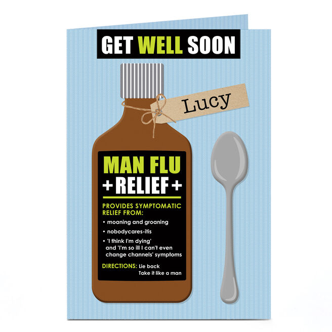 Personalised Get Well Soon Card - Man Flu Relief