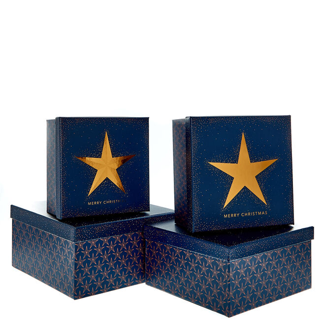 Navy Copper Star Square Gift Boxes - Set of 3
