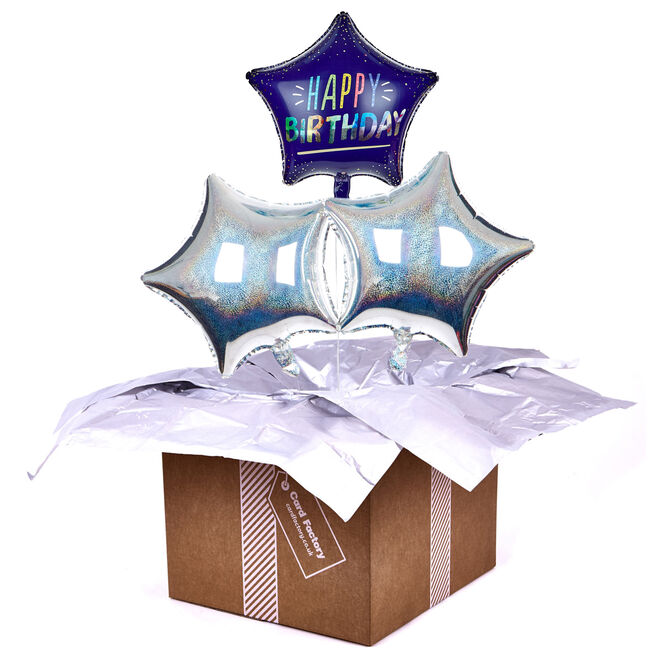 Star Happy Birthday Balloon Bouquet - DELIVERED INFLATED!