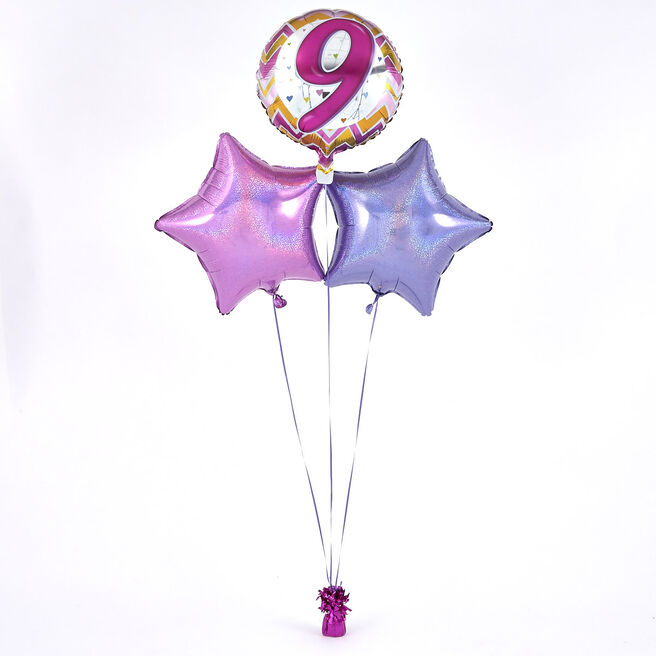 9th Birthday Zig-Zag Pink Balloon Bouquet - DELIVERED INFLATED!