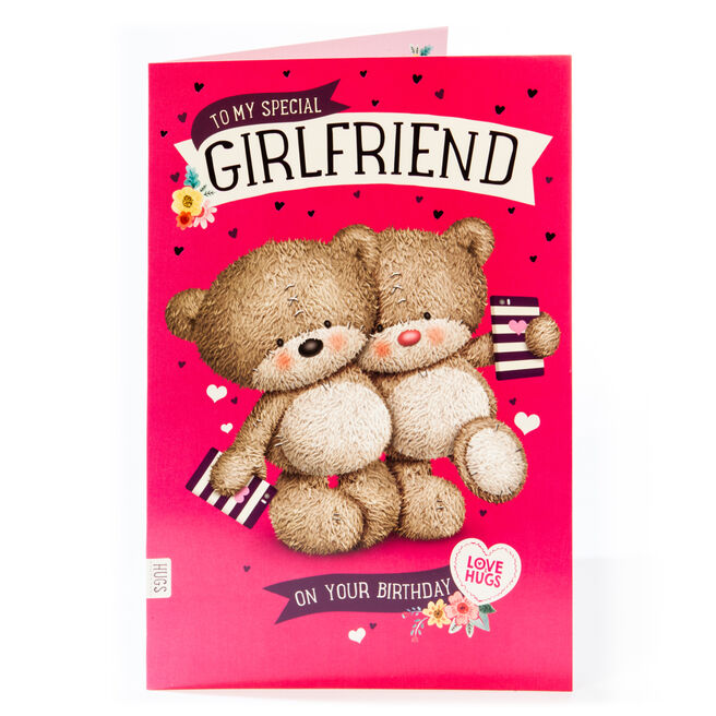 Giant Hugs Bear Birthday Card - Girlfriend