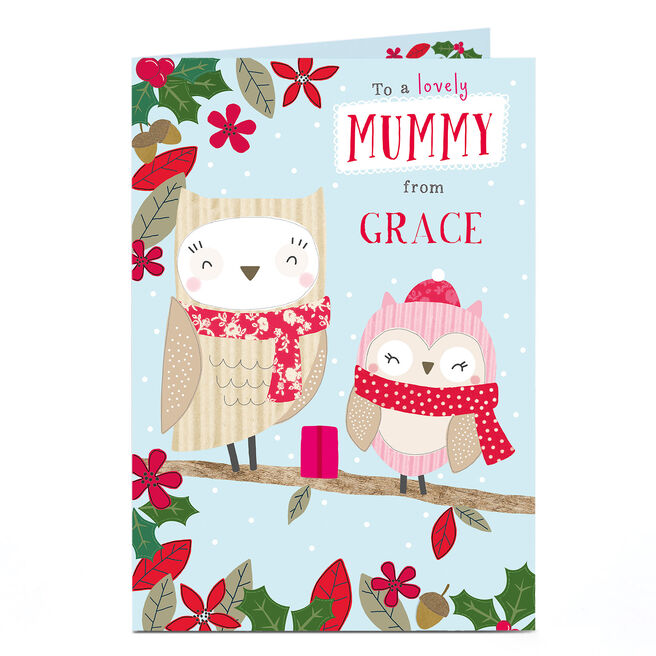 Personalised Christmas Card - Lovely Mummy And Baby Owl