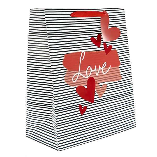Medium Portrait Valentine's Day Gift Bag - Black & White Stripes