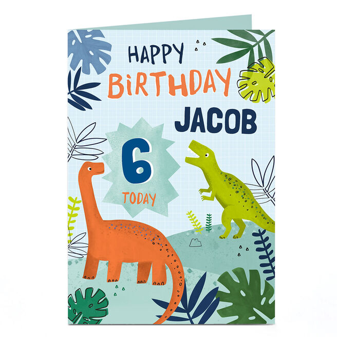Personalised Birthday Card - Dinosaurs Name and Age