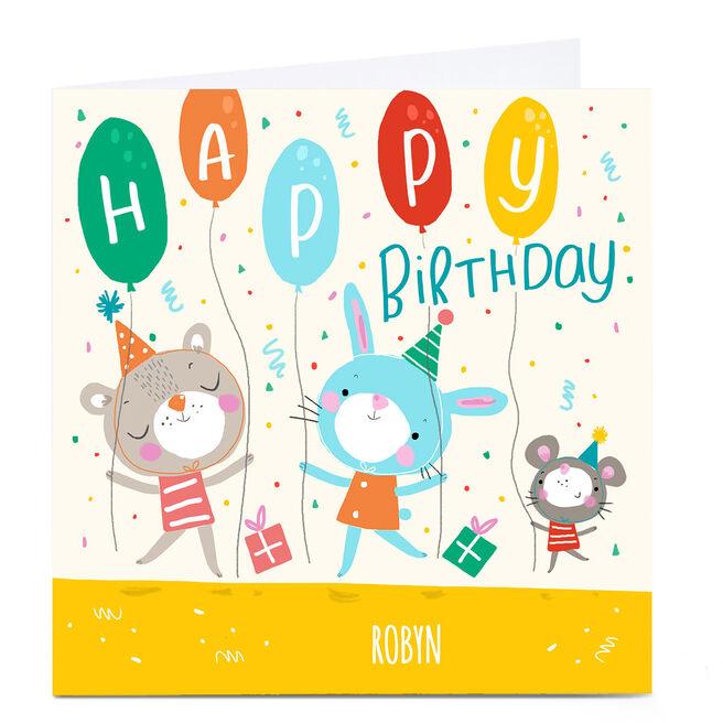 Personalied Carol Richardson Birthday Card - Animal Party
