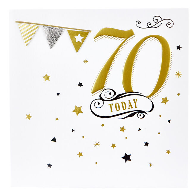 Boutique Collection 70th Birthday Card - Gold & Silver Stars