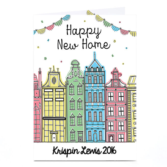 Personalised New Home Card - Colourful Town Houses