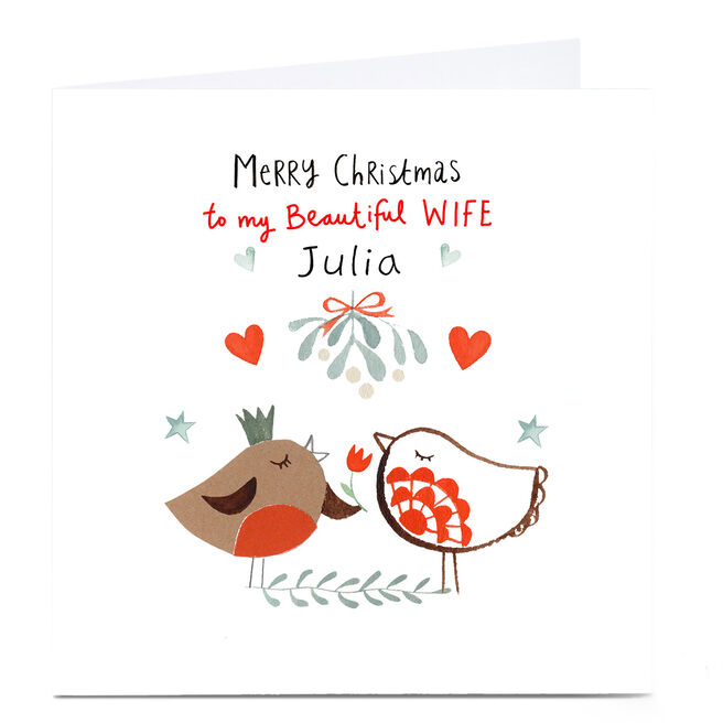 Personalised Lindsay Loves To Draw Christmas Card - Wife