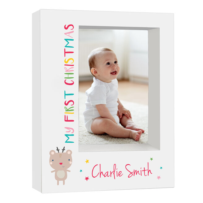 Personalised Baby Box Photo Frame - My First Christmas Reindeer