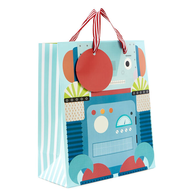 Small Blue Robot Gift Bag