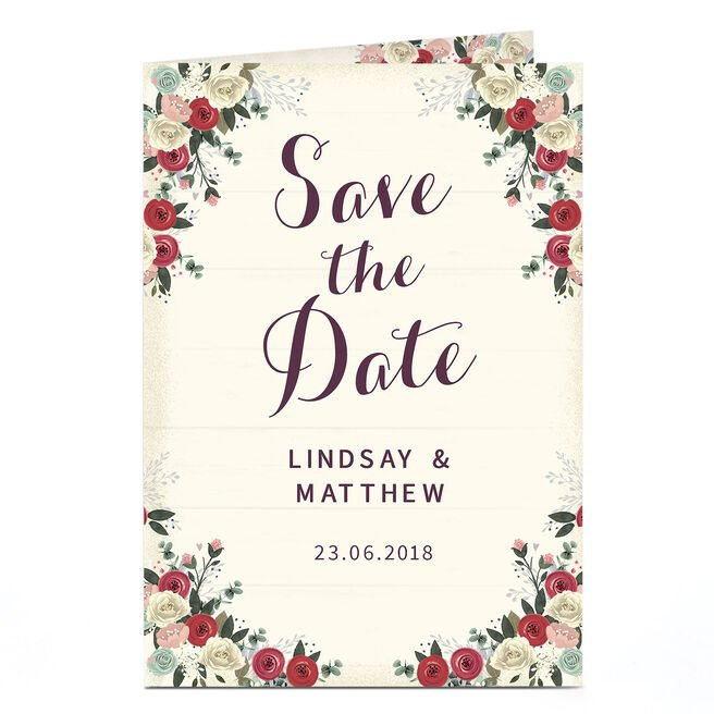 Personalised Save-The-Date Card - Classic Rose
