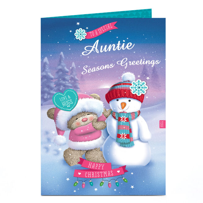 Personalised Hugs Christmas Card - Special Snowman Auntie