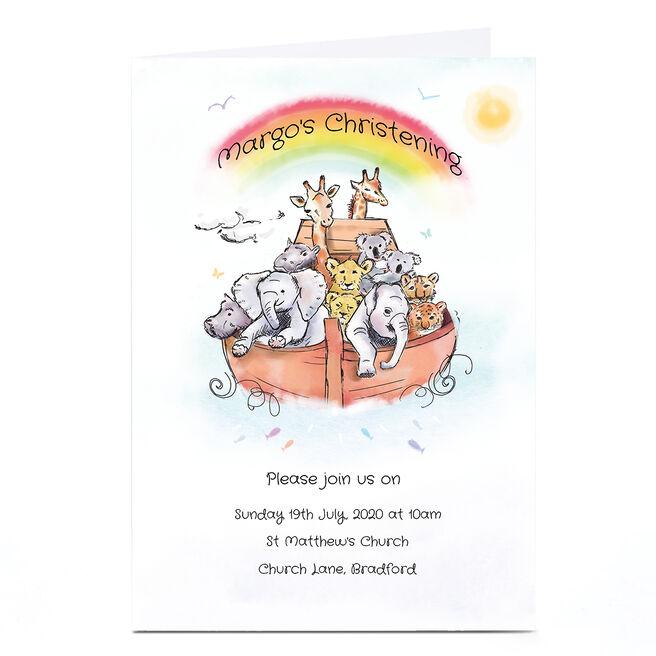 Personalised Christening Invitation Card - Noah's Ark