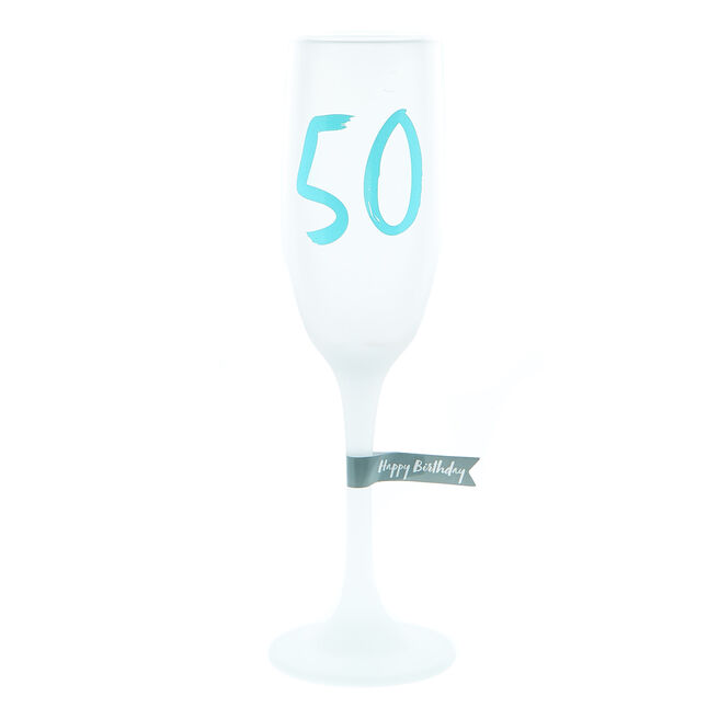 50th Birthday Frosted Champagne Flute