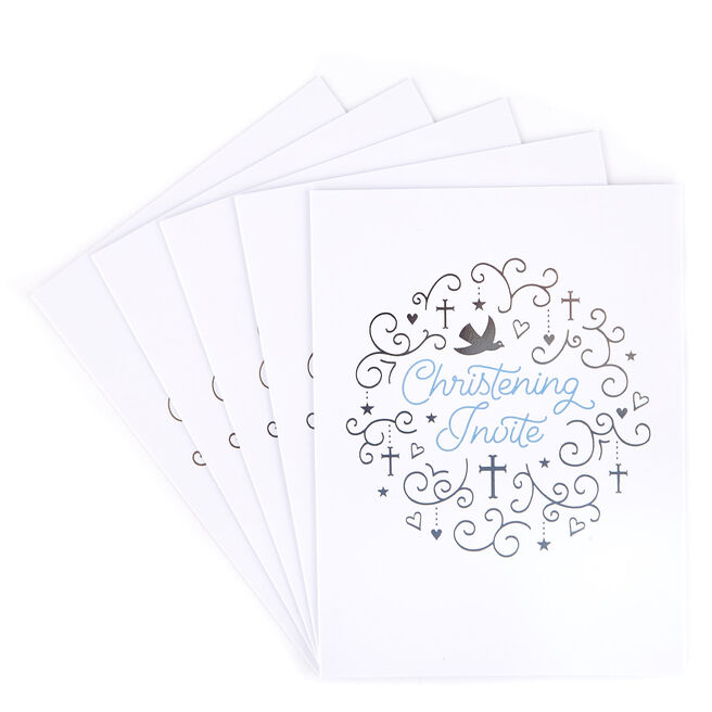 Blue & Silver Christening Invitations - Pack of 12