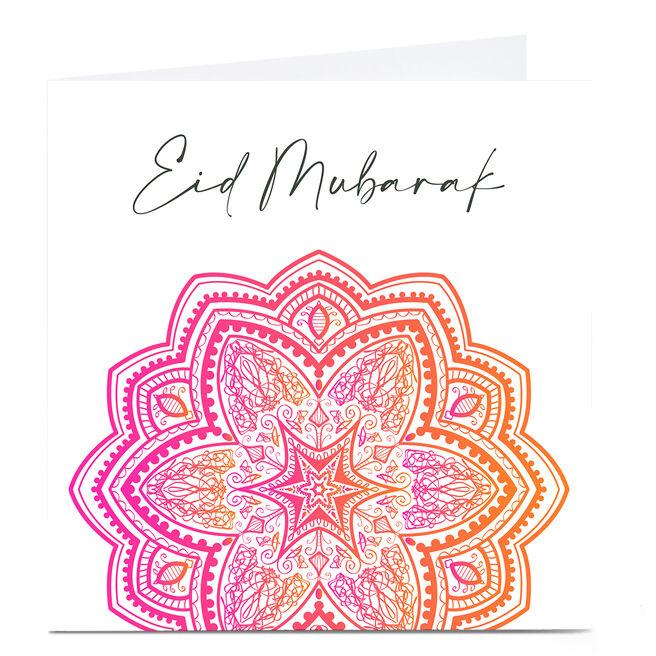 Personalised Roshah Designs Eid Card - Eid Mubarak Pink