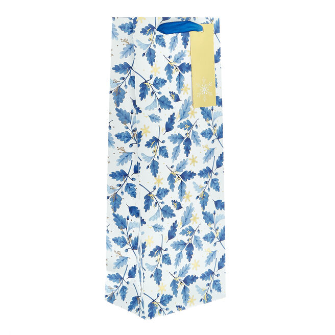 Blue Leaves Christmas Bottle Bag