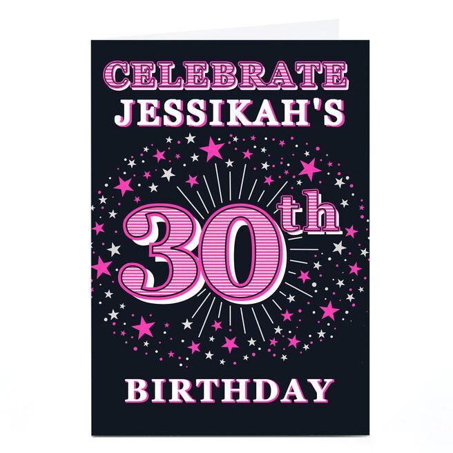 Personalised 30th Birthday Invitation - Pink Stars