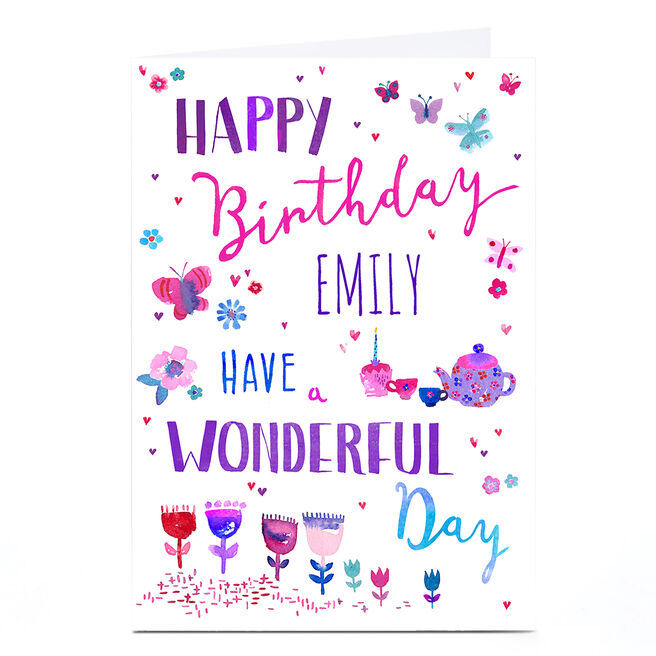 Personalised Nik Golesworthy Birthday Card - Flowers & Butterflies