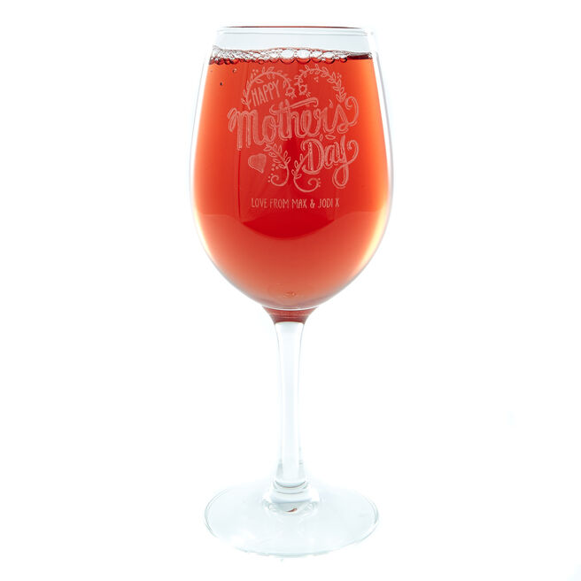 Personalised Happy Mother's Day Wine Glass