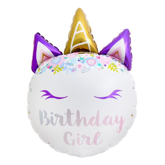 Giant Unicorn Birthday Girl 31-Inch Foil Helium Balloon