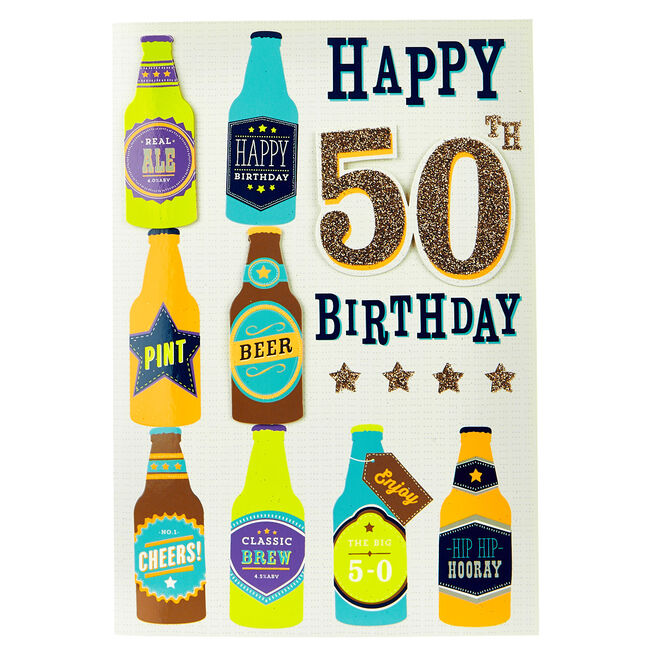 50th Birthday Card - Bottles of Beer