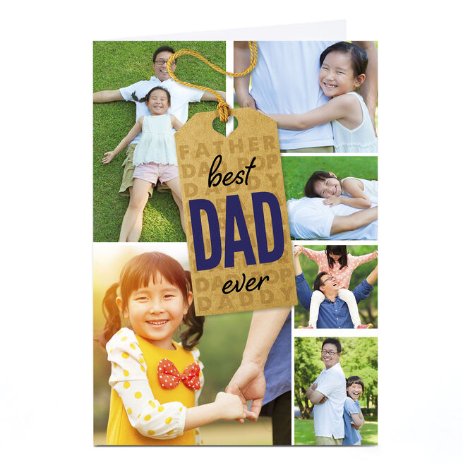 Multi Photo Card - Best Dad Ever Tag