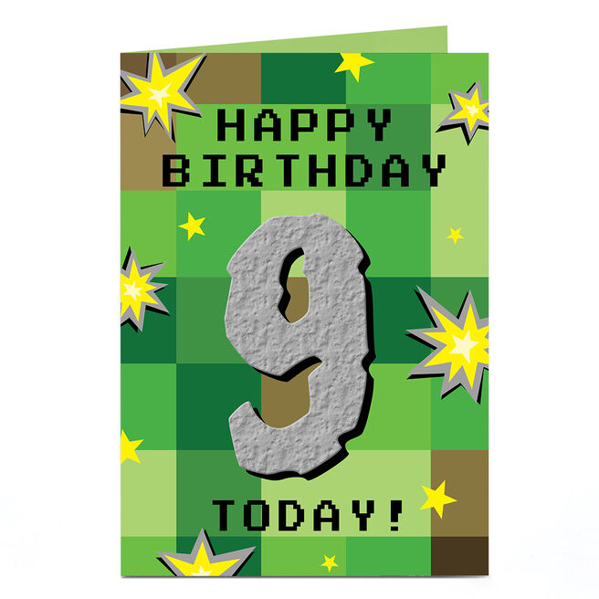 Personalised Birthday Card - Pixels & Explosions Age 9