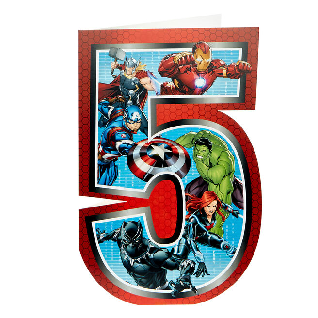 Marvel Avengers 5th Birthday Card
