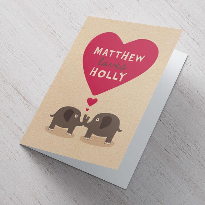 Personalised Card - Elephants In Love