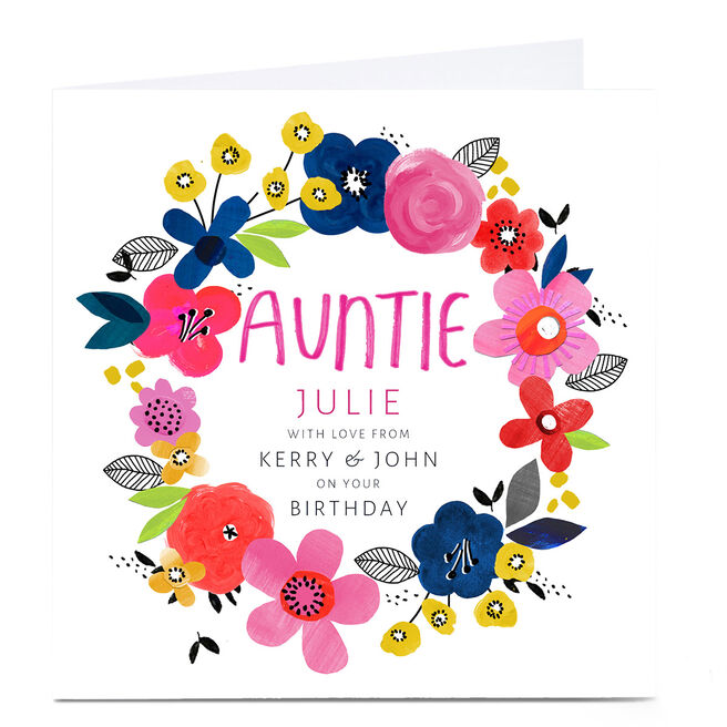 Personalised Kerry Spurling Birthday Card - Floral Wreath, Auntie