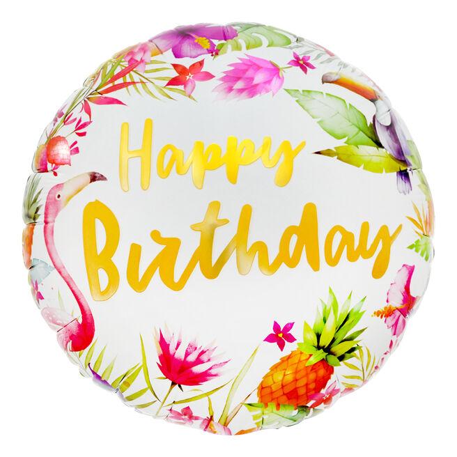 Tropical Happy Birthday 18-Inch Foil Helium Balloon