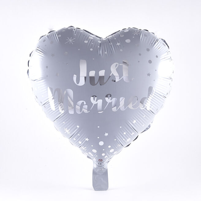 Just Married Heart-Shaped Foil Helium Balloon