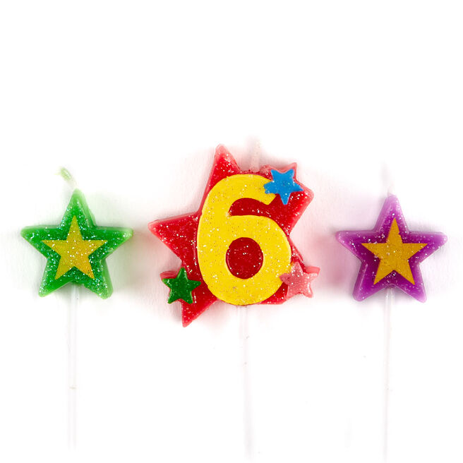 Number 6 Star Birthday Candles - Pack Of 3