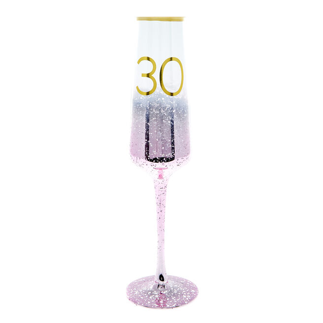 30th Birthday Frosted Champagne Flute