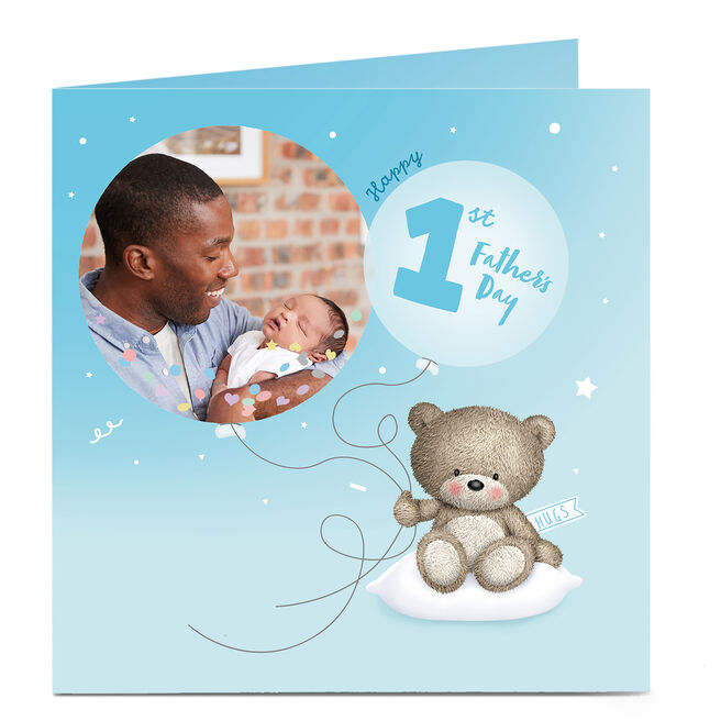 Personalised Father's Day Hugs Photo Card - 1st Father's Day