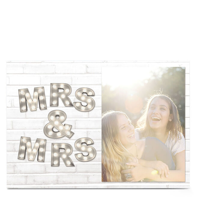 Photo Upload Card - Mrs & Mrs Lightbulb Letters