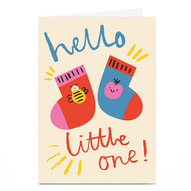 Personalised Ashley Le Quere New Baby Card - Socks