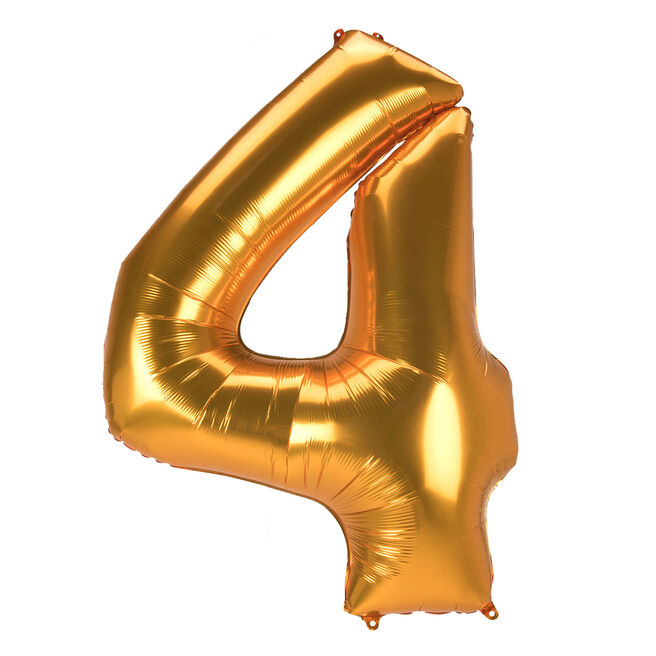 JUMBO 53-Inch Gold Foil Number 4 Balloon (Deflated)