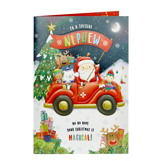 Christmas Card - Nephew Santa in Red Car