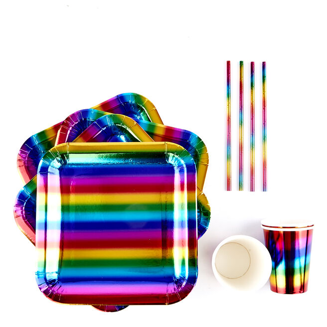 Rainbow Party Tableware Bundle - 60 pieces