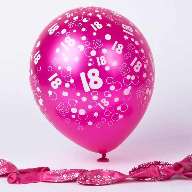 Metallic Pink Circles 18th Birthday Helium Latex Balloons - Pack Of 6