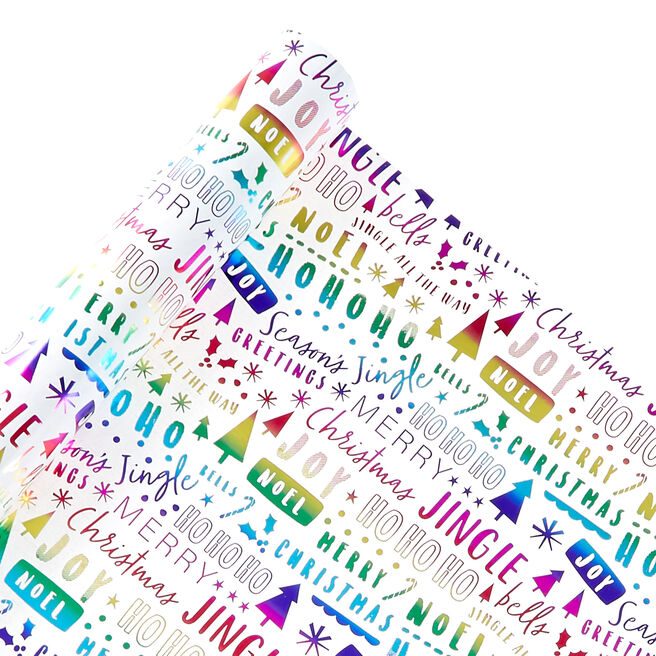 Rainbow Text Christmas Wrapping Paper - 2 Metres