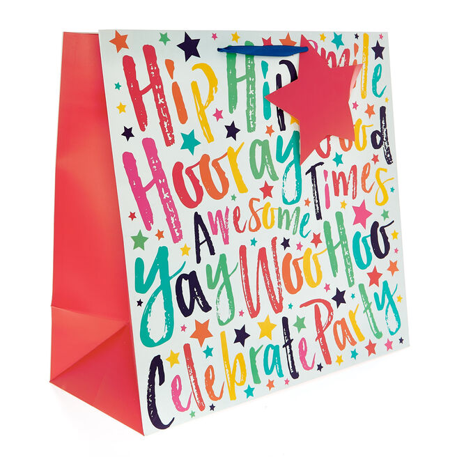 Giant Square Gift Bag - Rainbow Hooray Good Times