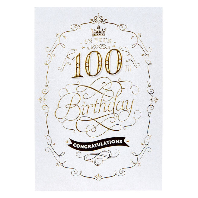 100th Birthday Card - Congratulations