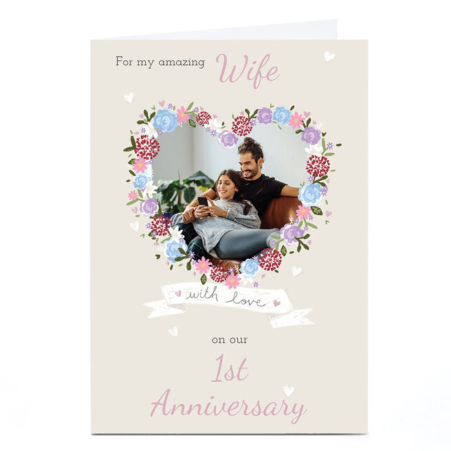 Photo Kerry Spurling 1st Anniversary Card - Flower Heart