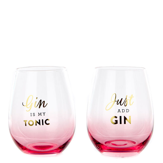 Pink & Gold Gin Glasses - Set of 2