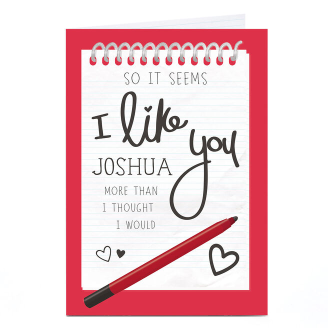 Personalised Card - So It Seems I Like You